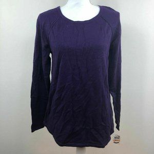 Karen Scott Womens Curved Hem Sweater Purple Small